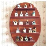 Collection of Lenox Mini Bird Houses with Display