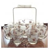 Libby Golden Foliage Cocktail Set with Caddy