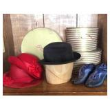 Lot of Hats and Hat Boxes, Vintage Shoes