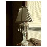 Pressed Glass Electric Lamp with Crystals