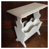 Magazine Stand End Table Painted White