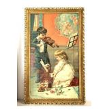 "Framed Victorian Print ""The Music Lesson"""