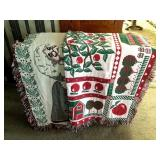 2 Decorative Coverlets, Santa and Apple Patterns