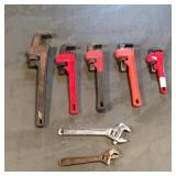 Two Crescent Wrenches, Five Pipe Wrenches
