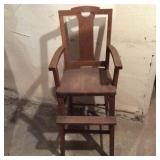 Arts and Crafts Oak High Chair
