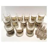 Thirteen Currier and Ives Tumblers, Glass Jar