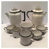 2  Black Trimmed Porcelain Coffee Pots with Cup