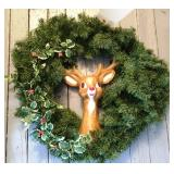 Christmas Wreath with Ceramic Reindeer