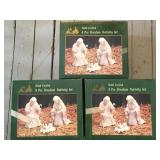 3 Boxed White Bisque Nativity Sets
