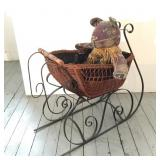 "27"" Tall Wicker Sleigh with Bear"