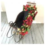 "31"" Tall Wicker Sleigh with Decorations"