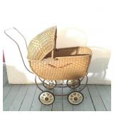 Vintage Toy Wicker Baby Carriage