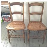 2 Antique Side Chairs with Caned Seats