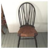 Antique Brace Back Windsor Chair with Rush Seat