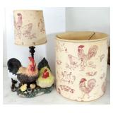 Vintage Rooster Lamp with Extra Matching Shade
