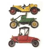 3 Sexton Wall Plaques, Antique Cars