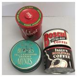 Box of Vintage Tins, Coffee, Tobacco and Mints