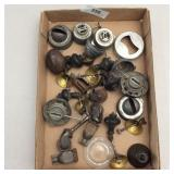 Box of Antique Hardware, Lamp Parts, Casters