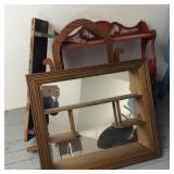 Attic Lot, 3 Wall  Mount Shelves, Mirror Frame