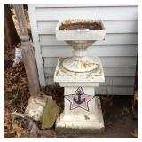 Cast Iron Urn on Cement Base