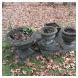 Lot of 4 Cement Urns