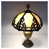 Brass Lamp Base with Slag Glass Shade