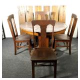 Antique Oak Pedestal Table and 4 Chairs