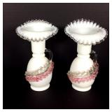 Pair of Cased Glass Vases with Applied Glass