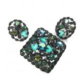 Austrian Rhinestone Brooch and Earrings