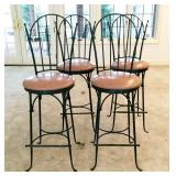 4 Wrought Iron Counter Stools
