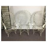 3 Antique Wire Peacock Chairs