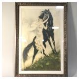 Icart Art Nouveau Print Woman with Black Horse