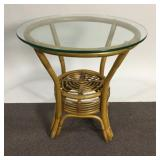 Bamboo Accent Table with Glass Top