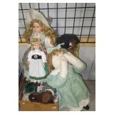 Various dolls including porcelain, stuffed, etc.