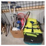 (2) Razor scooters, life jackets, tennis