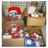 (4) Boxes of Christmas items including holiday