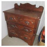 Vintage wood Eastlake style three drawer piece.