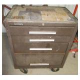 Three drawer Kennedy tool box on castors.