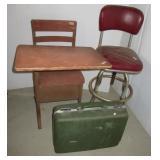Vintage school desk, bar stool and suitcase.
