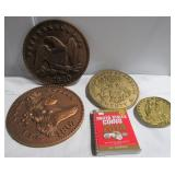 (4) Decorative wall coin plaques and coin book.