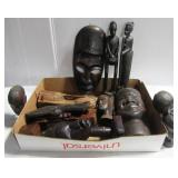 (10+) Pieces of various African wood carvings.