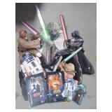 Various Star War collectibles including cut outs,