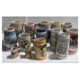 (11) Various beer steins including Budweiser,