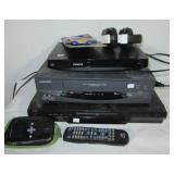 JVC DVD, Daewoo VHS, Philips blue ray player,
