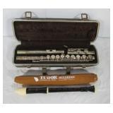 Tudor recorder and Buescher Aristocrat flute.