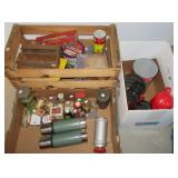 Vintage Thermoses, cheese boxes, vintage spices,