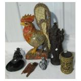 Various decorative items including wood rooster,
