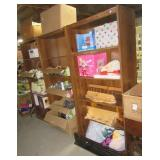"(3) Pressed wood shelves. Measures 72"" h x 30"" w"