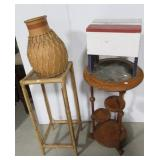 (2) Plant stands, pottery vase, & foot stool.