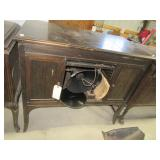 Antique Edison record player with cabinet.